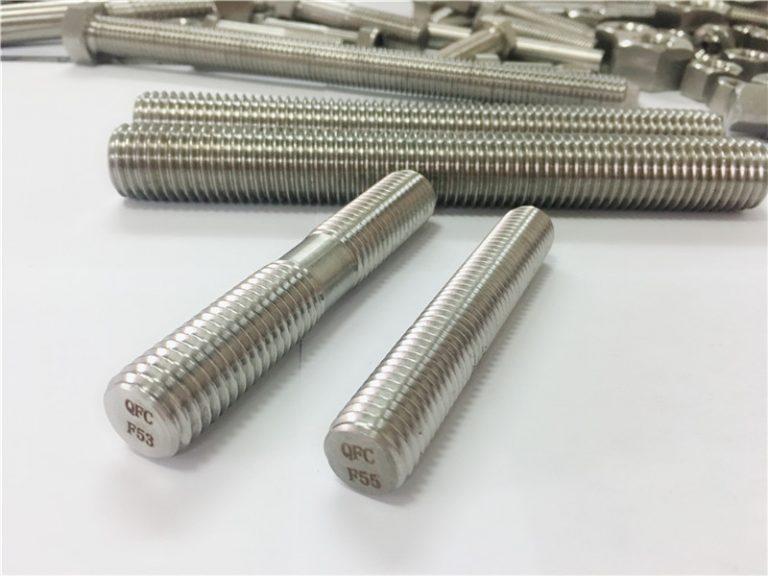 поръчкови автоматично обработени крепежни елементи от неръждаема стомана с двоен край с резба